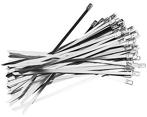 Demason 100 piezas Bridas para Cables, Acero Inoxiable, Bridas Metalicas, 4,6 mm x 200 mm, Lazos, Color Plata, Cinta de Cierre Automático, Fácil de Usar, Autoblocante, Más Útilizado, Alta Calidad