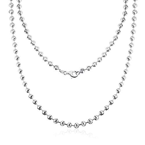 AINUOSHI Rhodium Plated Sterling Silver 2.5-5.0mm Moon Cut Chain Necklace Italian Bead Ball Chain Necklace, Men & Women, 16-28 Inches (22 inches, 2.5mm)