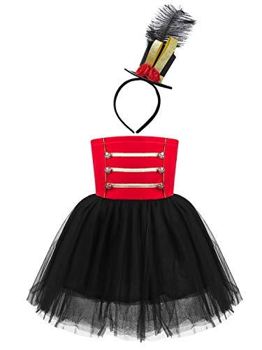 YOOJIA Vestido de Circo Drum para Niñas Falda Tutú Cascanueces Disfraz de Cosplay de Actuación Conjunto con Diadema Rojo 12 años
