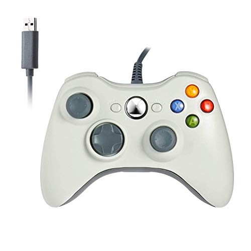 Xbox 360 Wired Controller, Etpark USB Gamepad, Joypad with Shoulders Buttons, for Microsoft Xbox 360/Xbox 360 Slim/PC Windows 7 8 10 Game (White)
