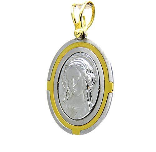 Pegaso joyas-Colgante de Oro Amarillo y blanco de CT medalla religiosa VIRGEN bicolor para hombre y mujer