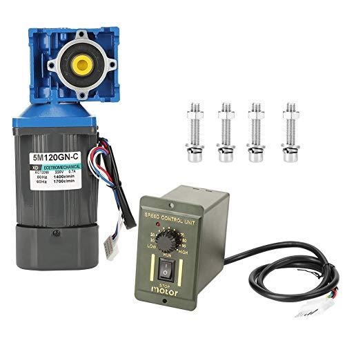 Motorreductor eléctrico de CA, 220V 120W Motor de engranaje ajustable con velocidad de gusano autoblocante CW/CCW con regulador(25K)