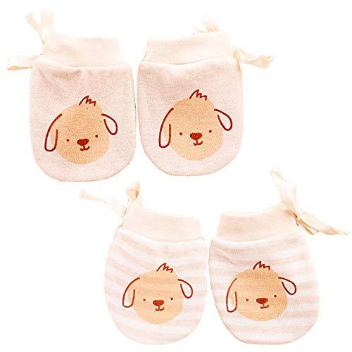 LOVARTS BEAUTY 2 Pack Guantes lindos de dibujos animados para bebés con cordón ajustable Recién nacido Niños Niñas Sin guantes de algodón para rascar, 0-6 meses (Oveja)
