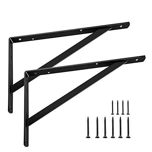 Shelf Brackets 14 inch, Heavy Duty Floating Shelf Bracket for Open Shelving, Black Metal L Bracket Angle Wall Brackets for 14 16 Large Shelves - 2 Pack with Screws - Multi-Size Available