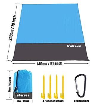 Starsea BT-Couverture de pique-nique portable Couverture de plage 200*140 cm bleu