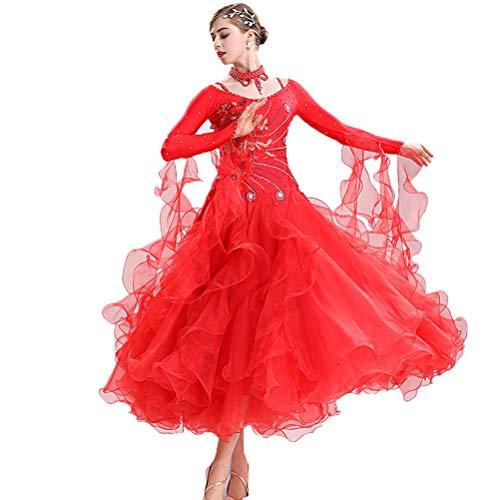Traje De Baile De Competencia Nacional Estándar De Salón De Baile para Mujeres Bordado Vestido De Rendimiento De Vals Moderno Ropa De Baile De Salsa De Tango,Rojo,XL