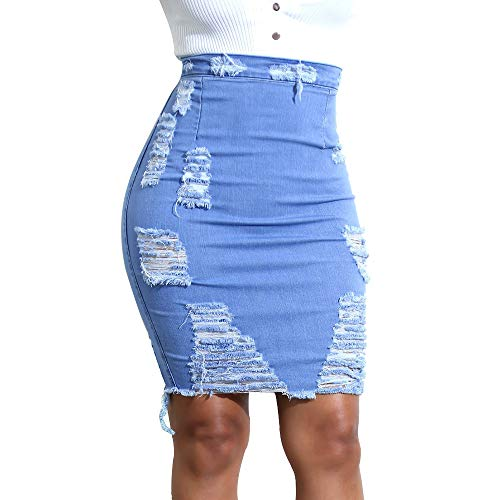 Hopin Falda Vaquera Ajustada de Jeans Vaqueros Ajustados para Mujer (Small)