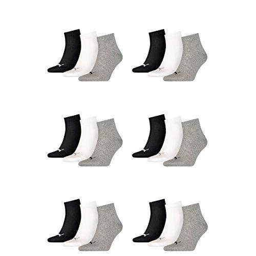 PUMA unisex Quarter Sportsocken Kurzsocken Socken 271080001 18 Paar, Farbe:Mehrfarbig, Menge:18 Paar (6x 3er Pack), Größe:43-46, Artikel:-882 grey/white/black