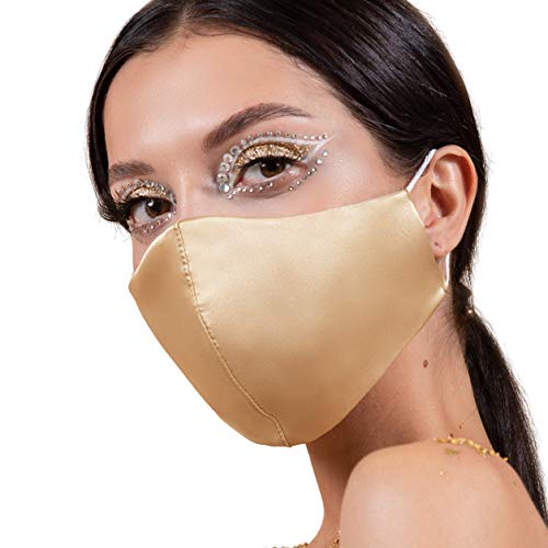 Reusable Satin Silk Face Masks USA, Nude Washable Face Mask with Filter Pocket, Ladies Wedding Womens 4 Layer Cloth Coverings (Gold Satin)