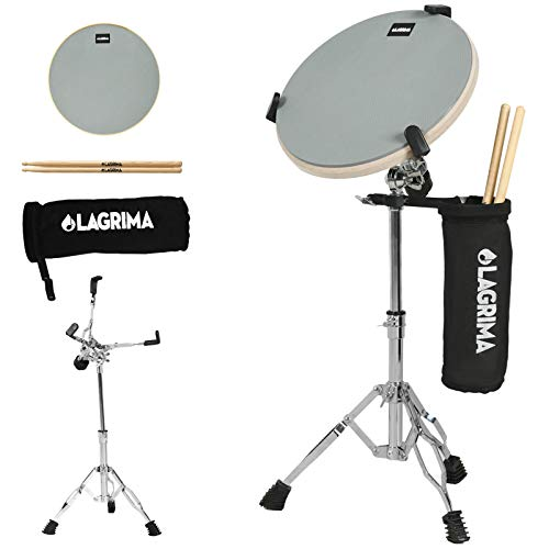 LAGRIMA 12 Inch Professional Silent Drum Practice Pad With Snare Drum Stand Adjustable Kit, Dumb Drum Beginner Rubber Practice Pad, Gray
