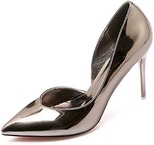 Xue Qiqi chaussures à haut talon-pointe fine avec des fées sauvages en cuir peint argent chaussures chaussures unique,34, 9 cm couleur des armes à feu