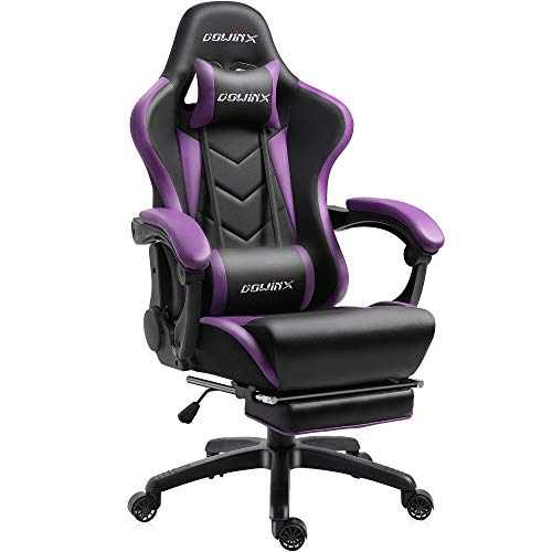 Dowinx Gaming Stuhl Ergonomischer Büro Lehnstuhl für PC mit Massage Lordosenstütze, Racing Stil Sessel PU-Leder-E-Sport-Gamer Stühle mit Ausziehbarem Fußraste (schwarz&lila)