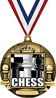 5 Pack Gold Color 1st Place Chess Medal Award Trophy with Neck Ribbon