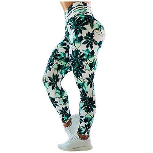 Routinfly - Leggings deportivos para mujer, sin costuras, para yoga, fitness, cintura alta, pantalones de yoga, leggins largos verde XL