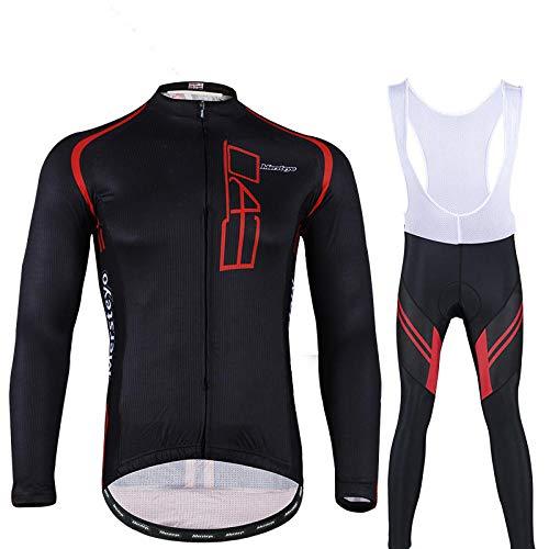 LybMjG Cyclisme Jersey Manteau,Équipement de Protection de Vélo pour Hommes Culotte, Coupe-Vent de Vélo pour Hommes, Pantalon À Bretelles avec Sangle en Caoutchouc 5D-Noir_M