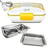SPICE Amarillo Inox Trio Scaldavivande Portatile Lunch Box 40 W 1litro + Set 2 Vaschette Acciaio...
