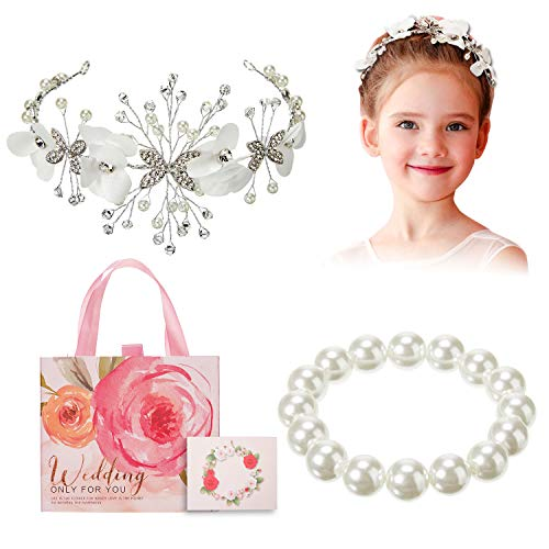 Flower Girl Gift Set, Flower Girl Wreath Wedding Diamond Pearl Headband Pearl Bracelet Flower Invitation Card in Adorable Flower Gift Box, Crown Headband Headpiece for Wedding Flower Girl Invitation