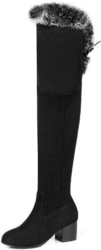 GAOQQ Stiefel De Invierno Sobre La Rodilla para damen, Tacón áspero, Felpa con Borde, Stiefel De Caballero Flacas,schwarz-EU36