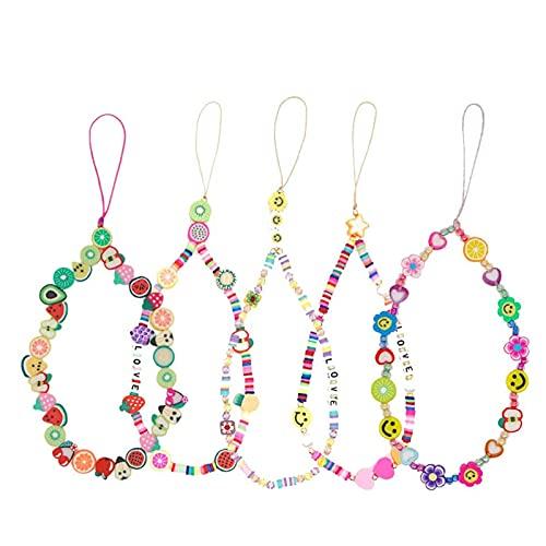 Opfree Beaded Phone Strap,Fashion Phone Lanyard Wrist Strap,Phone Chain Charm Accessories,Fruit Star Pearl Rainbow Color Beaded Phone Chain Strap