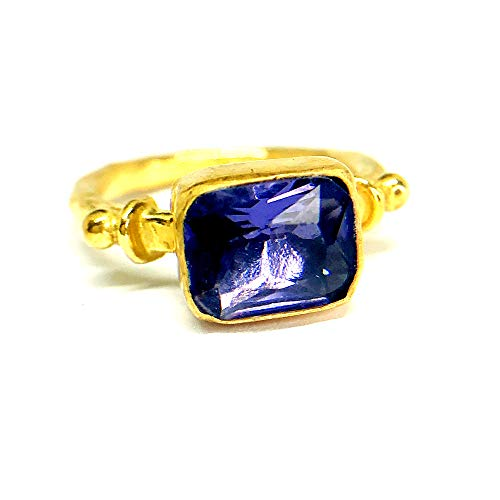 izmirjewelry Handmade Lab Created Amethyst Ring 24K Gold Over 925K Sterling Silver