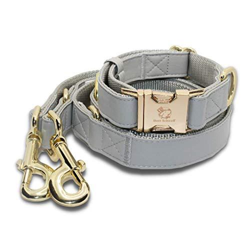 Herr Schnuff Hunde Halsband Leine Set | Hellgraue Lederoptik mit goldenen Verschlüssen | Geschenkset (Medium)