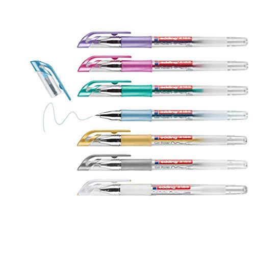 edding 2185 Gelroller - weiß, gold, silber, blau, grün, pink, violett - 7er Set - 0,7 mm - Gelstifte zum Schreiben, Malen, Mandala, Bulletjournal - Gelschreiber, Gelmalstifte
