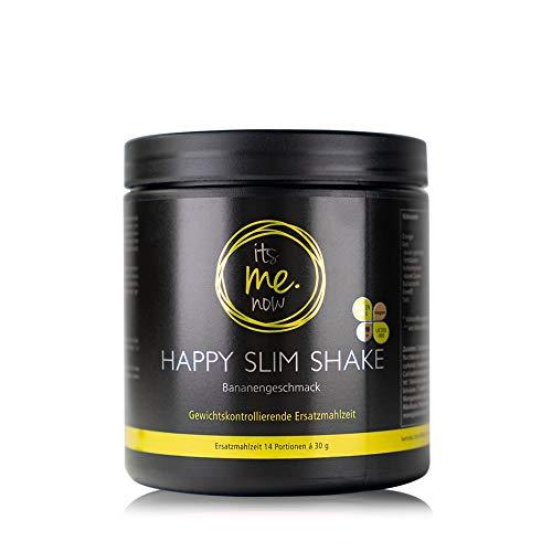 itsme.now® Happy Slim Diät Shake zum Abnehmen I Eiweißpulver vegan I pflanzliches Proteinpulver Reisprotein Erbsenprotein I Eiweißshake Mahlzeitenersatz Gewichtsverlust I 420g Dose Geschmack Banane