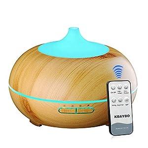 NEWKBO 300ml Aroma Difusor 7 Colores Aromaterapia Difusor Ultrasonidos Humidificador de Vapor Frío para Oficina(Luz de Grano de Madera)