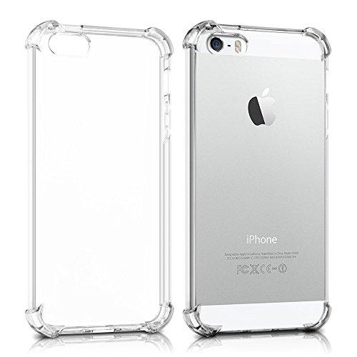REY Funda Anti-Shock Gel Transparente para iPhone 5 / 5S / SE, Ultra Fina 0,33mm, Esquinas Reforzadas, Silicona TPU de Alta Resistencia y Flexibilidad, Anti Golpes