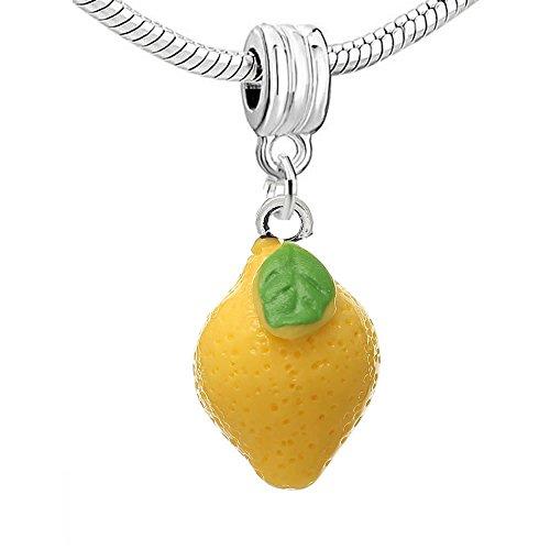 Resin'Lemon Yellow Fruit' Dangle Charm Pendant for European Snake Chain Bracelets