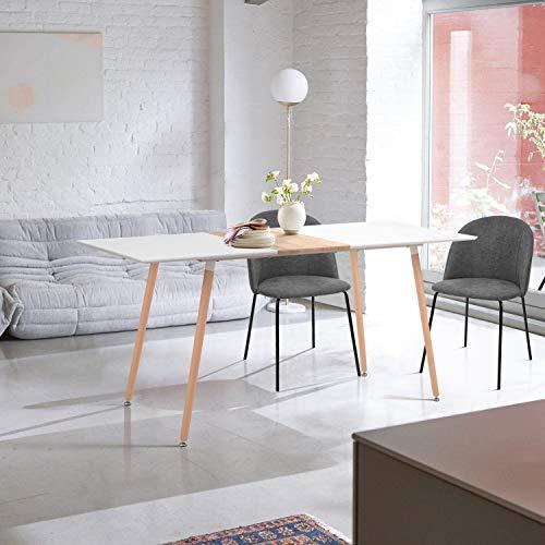 FurnitureR Mesa de comedor para 4 a 6 personas, mesa de cocina rectangular, 140 x 80 x 76 cm, mesa de comedor Eames con patas de haya,...
