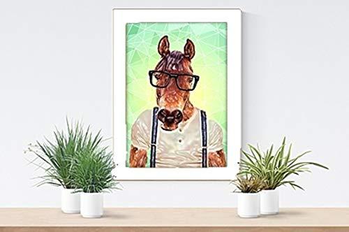 Parksmoonprints A4 geometrische Pferde-Hosenträger Druckbild Wandkunst Abstrakt Scandi Polygon Hipster Tier in Kleidung Nordic Funky Witzig Modern Cool