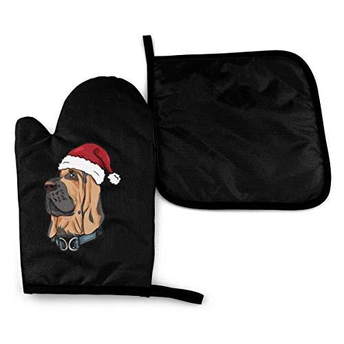 HGFK Bloodhound Weihnachtshund Geschenk Mikrowelle Handschuhe und Topflappen Abdeckungssatz Wärmeisolierung Decke Matte Pad Fäustlinge Handschuh Backen Pizza Grill Grillzubehör Home Kitchen Decor