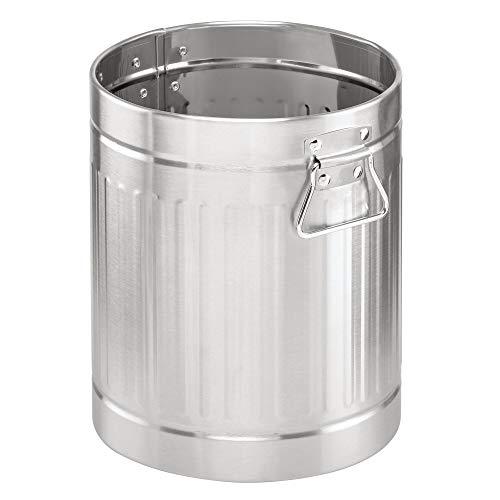 mDesign Papelera metálica para baño o aseo – Elegante cubo de basura redondo y con asas – Contenedor de residuos de diseño en metal resistente con revestimiento anticorrosión – plateado