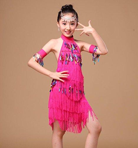 Kinderen Latijnse Dans Kostuums Vrouwen Kassen Latijnse Dans Rok Children's Dans Show Competitie Kleding Rose Rood Geel Blauw