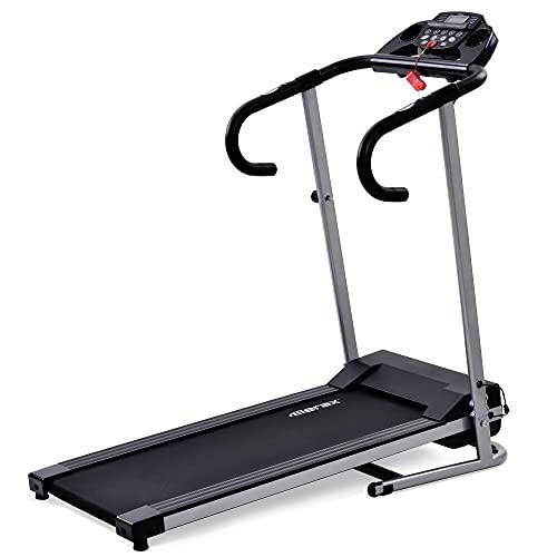 YOTH Cinta de correr para fitness con pantalla LCD, 1-10 km/h, 12 programas, soporte para pastillas y botellas, plegado compacto (negro)
