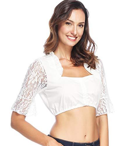 Lever Damen Dirndl Spitzen Dirndlbluse Spitzenärmel Dirndl Bluse Weiß Baumwolle Trachten Bluse 36 Herstellergröße S