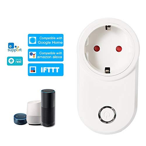 Gamogo Mini Smart WiFi Socket Control Remoto de Enchufe Inteligente Tipo E de la UE por teléfono Inteligente Desde Cualquier Lugar Función de temporización, Control de Voz Compatible con Amazon