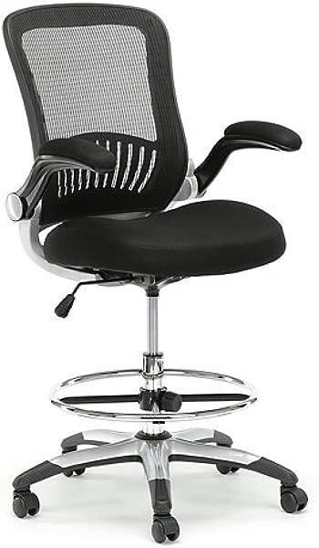 Linear Vertical Mesh Drafting Stool With Flip Arms Black Vertical Mesh Back Black Fabric Mesh Seat Black Frame