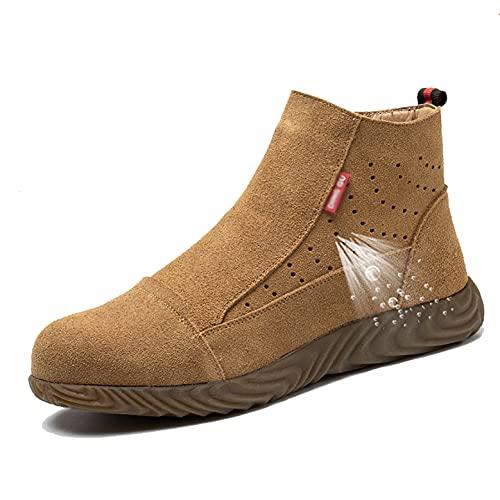 Zapatos de Trabajo Soldador para Hombres Soldadura Botas de Seguridad Steería Toe Taber Tendon Suela Exterior Zapatos de Trabajo Moda Lateral con Cremallera Suede Cuero Industrial Calzado