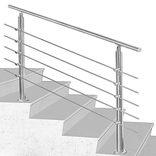 SWANEW Rambarde Main Acier Inoxydable,100*4.2*106.5cm avec 5 Tringles,Balustrade Vieillard Garde-Corps pour Maison Escalier Patio Balcon Terrasse