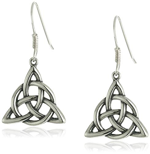 Sterling Silver Oxidized Celtic Triquetra Trinity Knot Dangle Earrings