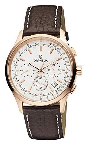 Orphelia Herren-Armbanduhr 24h Dual Time Quarz Leder