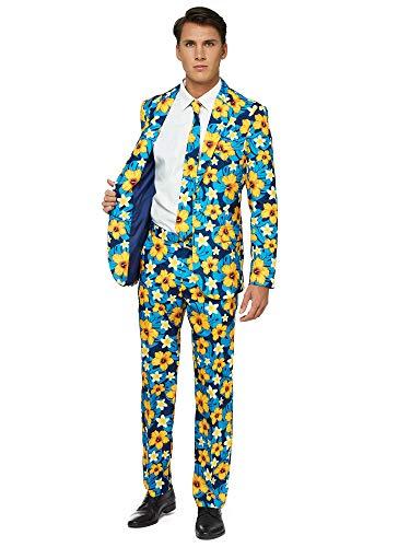OFFSTREAM Faschingskostüme für Herren - Mit Jackett, Hose und Krawatte mit Festlichen Print, S, Tropical Flower Blue