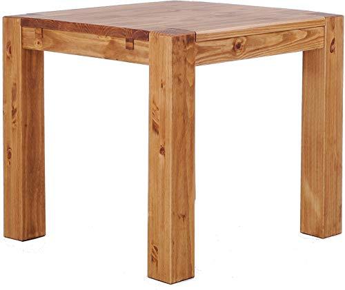 Brasilmöbel Esstisch Rio Kanto 90x90x78 cm Brasil - Holz Tisch Pinie Esszimmertisch Küchentisch - vorgerichtet für Ansteckplatten - ausziehbar