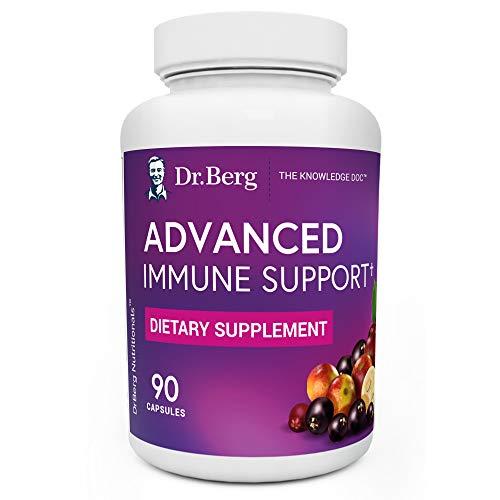 Dr. Berg's Advanced Immune Support - Daily Immunity Multi-System Defense Supplement with Vitamins C, D, Zinc, & Elderberry, 90 Vegetarian Capsules