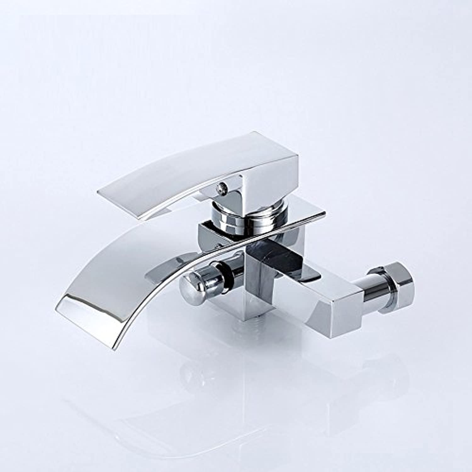 WINZSC Hot and cold shower faucet copper triple bathtub faucet wide mouth waterfall faucet wx5241412