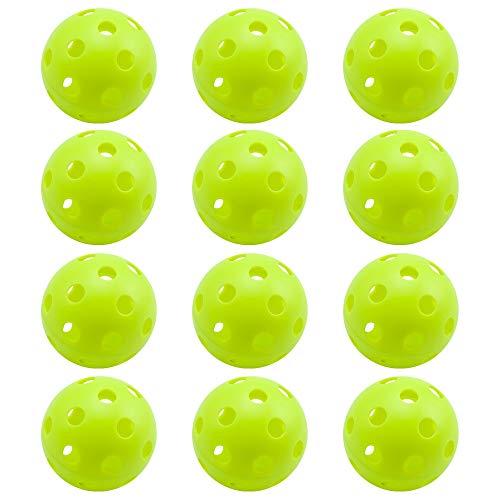 12-Pack of Training Practice Plastic Baseballs, Indoor Pickleball Balls, Airflow Hollow Softballs (Green)