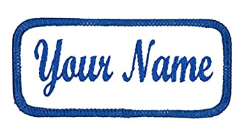 Name Patch Uniform Work Shirt Personalized Embroidered White with Blue Border Sew on.
