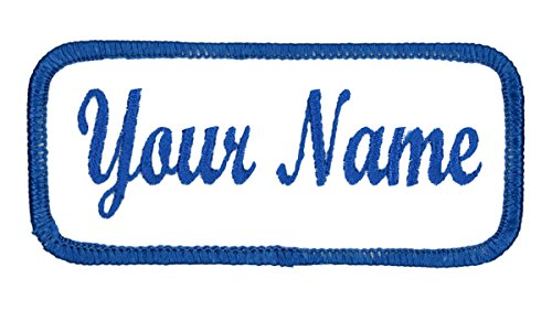 Name Patch Uniform Work Shirt Personalized Embroidered White with Blue...